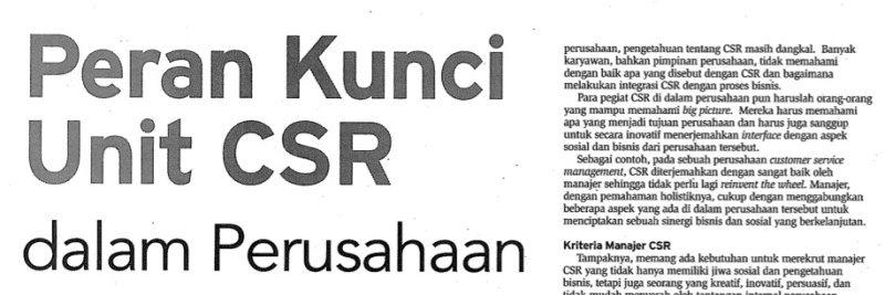 Peran Kunci CSR